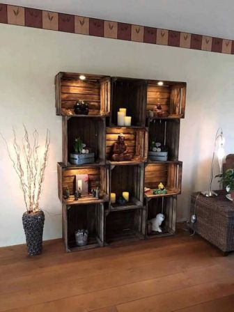 Rak Dinding Minimalis kayu hiasan kamar