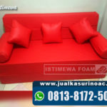 Mewahnya Sofa Bed Anti Air Bahan Oscar Warna Merah